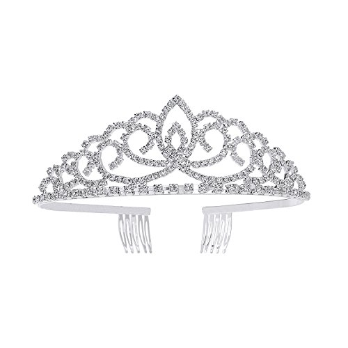 Tiaras and Crowns for Little Girls, YUE DOU XIONG Royal Princess Wedding Bridal Silver Crystal Hair Jewelry ()