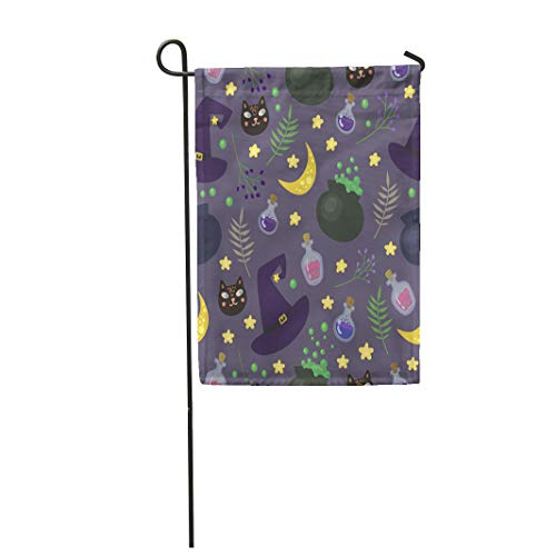 Semtomn Garden Flag 28x40 Inches Print On Two Side Polyester Green Witch with Magic in Cartoon Style Perfect for Halloween Purple Black Cat Home Yard Farm Fade Resistant Outdoor House Decor Flag -