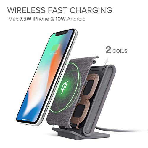 iOttie Ion Wireless Fast Charging Stand, Qi-Certified Charger 7.5W for IPhone XS Max R 8 Plus 10W for Samsung S9 Note 9…