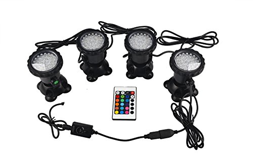 RunQiao Neu Aquarium 4 x 36 LED RGB 3W Unterwasser Strahler Teichbeleuchtung Garten Teich Schwimmbad Lampe wasserdicht Lichter Außenstrahler Spotlight