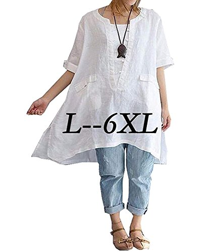- Womens Plus Size Tshirt Tops Loose Fit Half Sleeve Wide Hem Blouse 6XL White