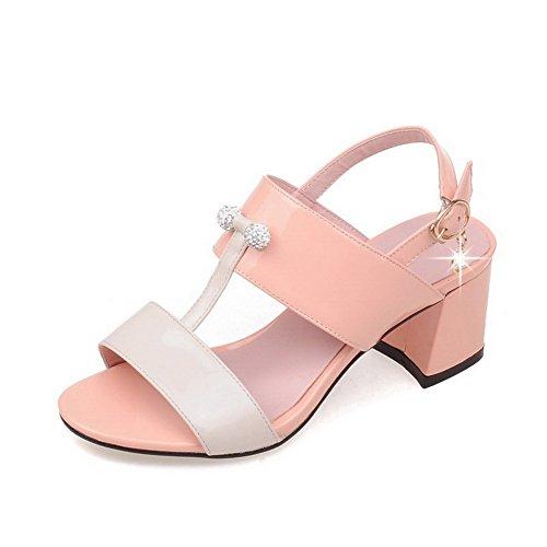 VogueZone009 Women's Open Toe Buckle Microfiber Studded Kitten-Heels Sandals Pink t10rBLV