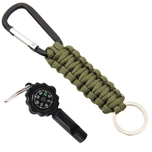 - Outdoor Paracord Survival Key Chain Emergency Multifunctional kit with Compass, carabiners, Key Ring and Whistle by Jamine Dreamin (B)