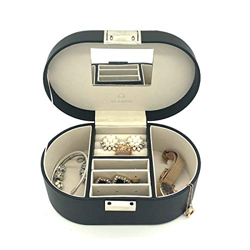 Vlando Small Travel Jewelry Box Organizer Mirrored Case