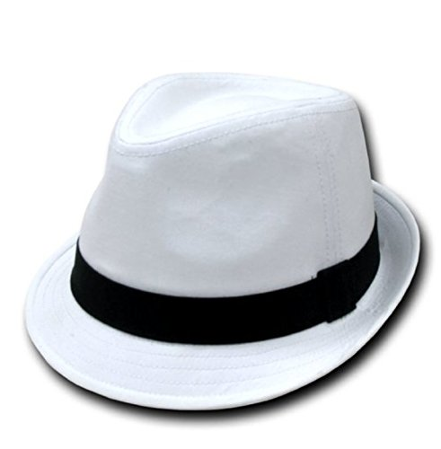 White Cotton Fedora Black Band-l xl at Amazon Men s Clothing store  8da4a007e53