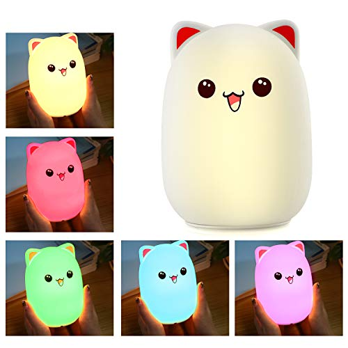 Cat Lamp, Baby Night Light, Nightlights for Children, Night Light for Kids/Girls/Boys, Cute Kitty Lamp, Tap Control, Soft Silicone Cat Night Light, USB Rechargeable, Warm White & Color Breathing Modes