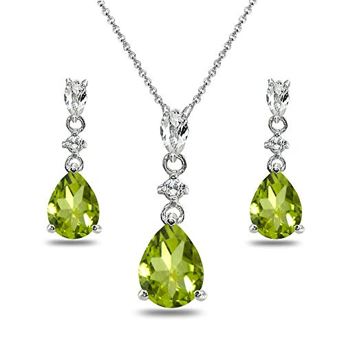 Sterling Silver Peridot & White Topaz Pear-Cut Teardrop Dangling Stud Earrings & Necklace Set