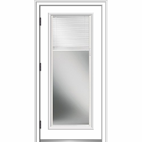 National Door Company ZZ364936R Smooth, Primed, Right Hand Outswing, Prehung Door, Full Lite, Clear Low-E Glass, Internal Blinds, 36