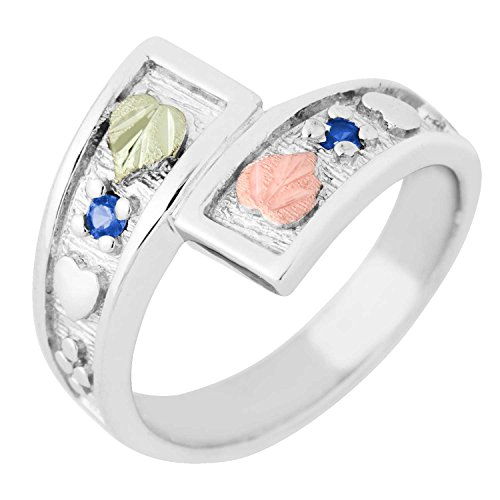 2MM Synthetic Blue Spinel Black Hills Gold Sterling Silver Bypass Ring from Landstroms - Size 10