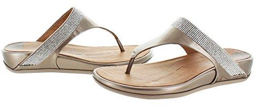 FitFlop Banda Micro-Crystaltoe-Thong- Sandalias para mujer (Nude) Metálico, talla 37