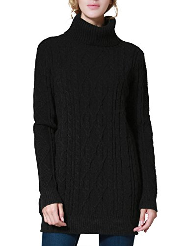 PrettyGuide Women's Long Sweater Turtleneck Pullover Tunic Sweater Tops M (Black Turtleneck Sweater)