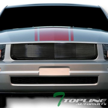 Topline Autopart Black Horizontal Front Hood Bumper Grill Grille ABS For 05-09 Ford Mustang V6