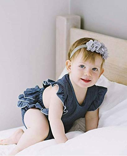 Newborn Kids Baby Girls Clothes Floral Jumpsuit Romper Playsuit + Headband Outfits