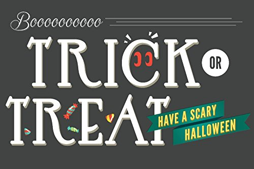 Trick or Treat - Happy Halloween Collectible Art Print, Wall Decor Travel Poster