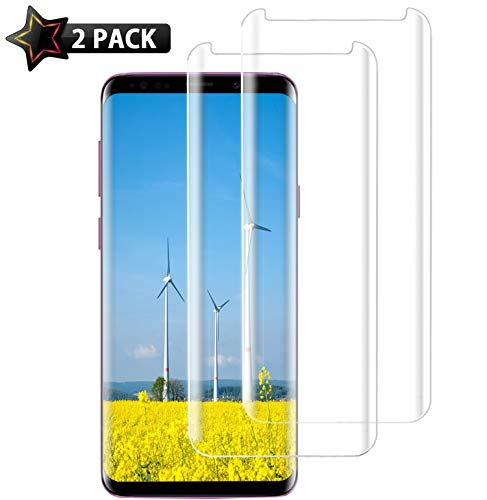 [2 Pack] Galaxy S9 Plus Screen Protector, S9 Plus Tempered Glass, HD Clear Anti-Scratch Case Friendly 3D Curved Protective Tempered Glass Screen Protector Compatible with Samsung Galaxy S9 Plus (6.2')