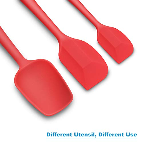 Silicone Spatula 3-piece Set, Ergonomic Handle High Heat-Resistant Spatulas, Non-stick Rubber Spatulas with Stainless Steel Core, Red