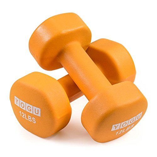 YOGU Neoprene or Vinyl Dumbbells Anti-Roll Hexagonal Dumb Bell Weights Compact and Color-Coded Non-Slip Grip for Men and…