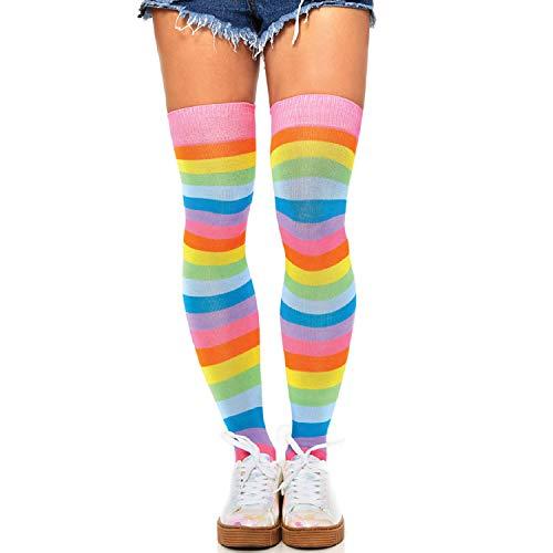 Leg Avenue Womens Neon Rainbow Thigh Highs