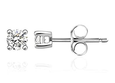 62dc00243 5 pairs Sterling Silver 0.11 Carat Simulated Diamond Earring Studs 3mm Ear  Studs w/Earnuts