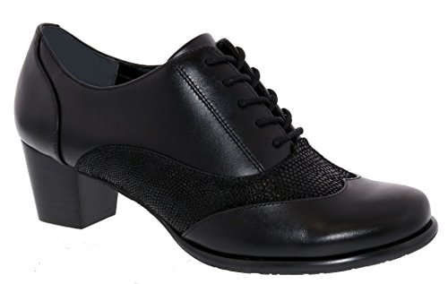 Ros Hommerson Annie Women's Casual Comfort Shoe: Black/Combo Leather 8.5 X-Wide (2E) Lace Up