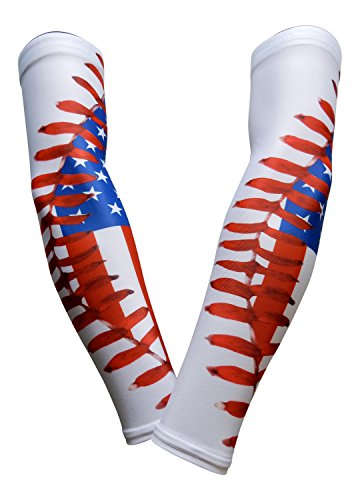 PAIR - Sports Farm - Compression Elbow Arm Sleeves (YOUTH LARGE, US FLAG/BASEBALL STITCH)