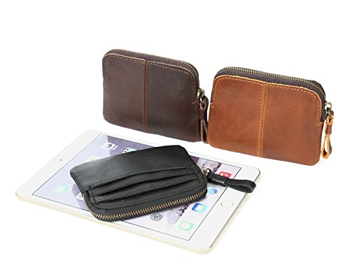 Size S Court Zipper colored Bronze De Wallet Carte color monnaie Hommes Titulaire Vintage La Horseskin À Porte En Multi Cuir Crazy 7fqxUwHS