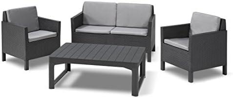 Keter Chicago Lounge Set de Jardín con mesa Lyon y patas regulables, Grafito, 120x80x65 cm: Amazon.es: Jardín