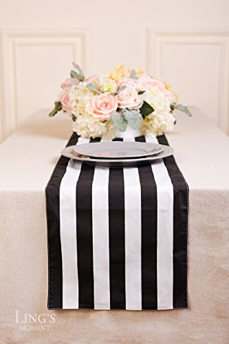 Ling's moment Classic 1 Inch Black and White Striped Table Runner, 12 x 72 Inches, 100% Cotton Machine Washable Colorfast by Ling's moment (Image #2)