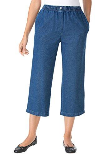 Spring Capri Jeans - Women's Plus Size Mock Fly Cotton Capri Jean Medium Stonewash,16 W
