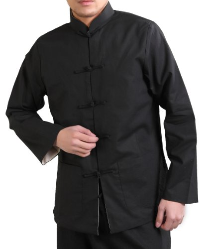 Bitablue Men's Linen-Blend Reversible Chinese Jacket (X-Large, Black/Red) ()