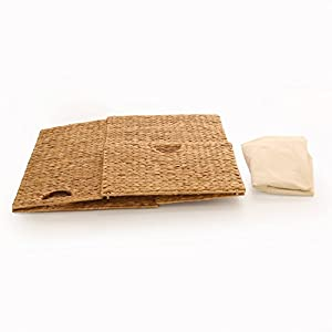 Seville Classics Foldable Water Hyacinth Portable Hamper