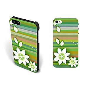 Pastel Floral Case For Iphone 6 4.7Inch Cover Green Simple Hipster Stripes Flower Hard Plastic Case For Iphone 6 4.7Inch Cover Case Skin Personalized.