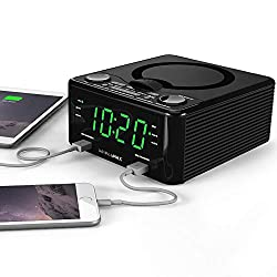 HANNLOMAX HX-300CD Top Loading CD Player, PLL FM Radio, Digital Clock, Dual Alarm, 1.2 inches Green LED Display, Dual USB Ports for 1A and 2.1A, Aux-in, Dimmer