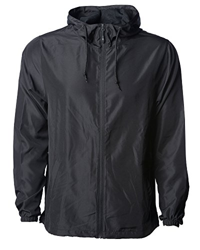 Global Blank Men's Lightweight Windbreaker Winter Jacket Water Resistant Shell Black
