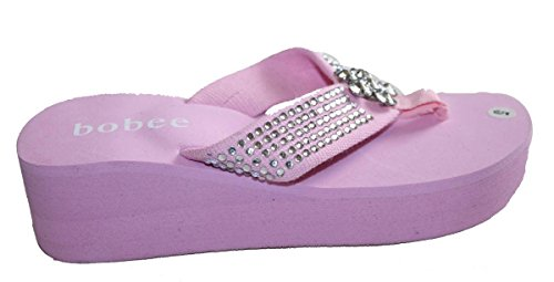 Big Wedges Pink L Studded Strap Style Sandal Platforms Womens with Thongs Stone xwqCYCg