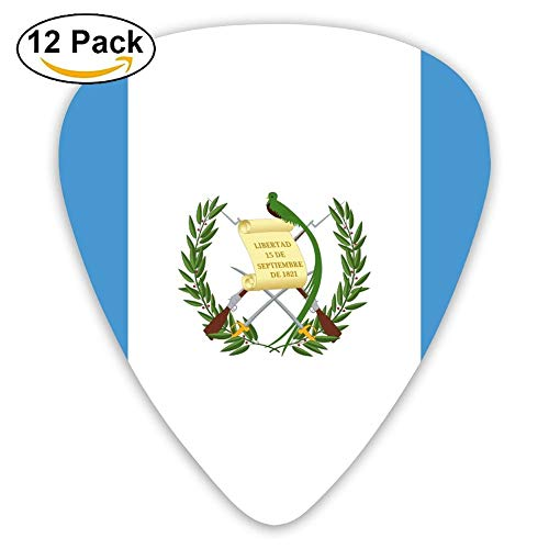 (CuenNael Flag Of Guatemala Classic Stylish Colorful Guitar Picks Unique Gift For Electric Acoustic Bass Guitar Boys Girls Guitar Player 12 Pack)