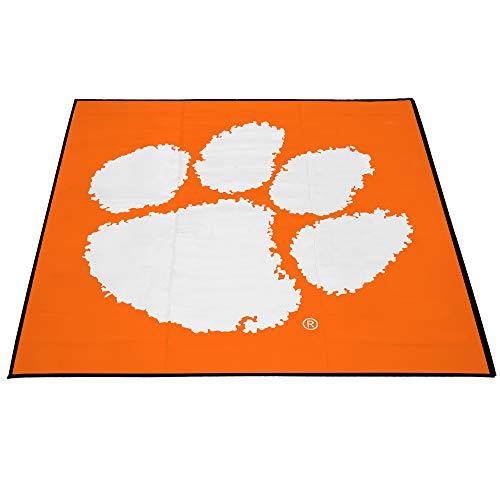 Smart Design Collegiate Tailgate Picnic Mat - 9 x 9 Feet - Clemson University Team Design - Officially Licensed Logo - Orange & White Colors - [Clemson -