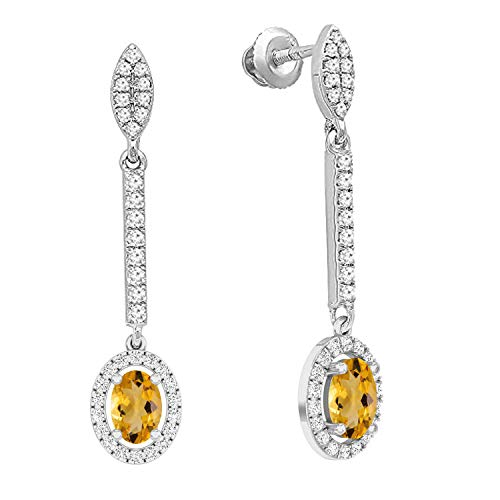 - Dazzlingrock Collection 10K 7X5 MM Each Oval Citrine & Round White Diamond Ladies Dangling Drop Earrings, White Gold