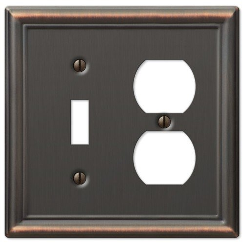 Decorative Wall Switch Outlet Cover Plates (Oil Rubbed Bronze, Toggle Duplex)