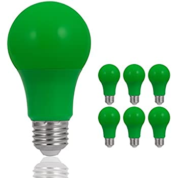 JandCase LED Green Light Bulbs, 40W Equivalent, A19 Light Bulbs with Medium Base, 6 Pack