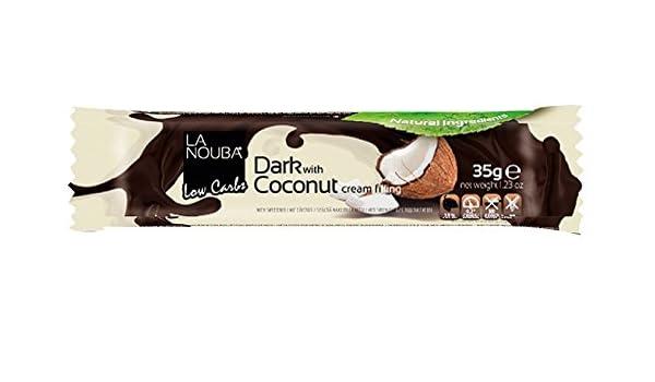 Barrita Low-Carb de Chocolate negro con coco La Nouba 35 g: Amazon.es: Alimentación y bebidas