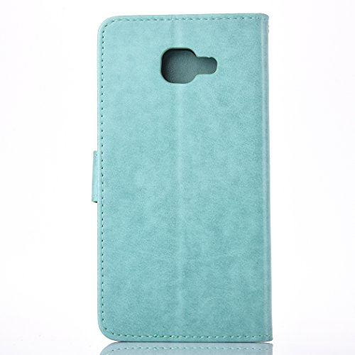 Galaxy J3 Case, BONROY® Samsung Galaxy J3 (2016) J320F Butterfly love flower couple series PU Leather Phone Holster Case, Flip Folio Book Case, Wallet Cover with Stand Function, Card Slots Money Pouch Butterfly Wind chimessky blue
