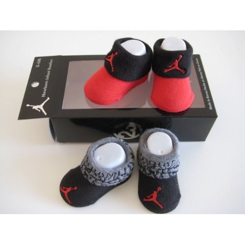 Nike Jordan Booties Girl Boy Baby Infant 0-6 Months Black/red and Black/grey with Jumpman23 Sign 2 PCS One Set New