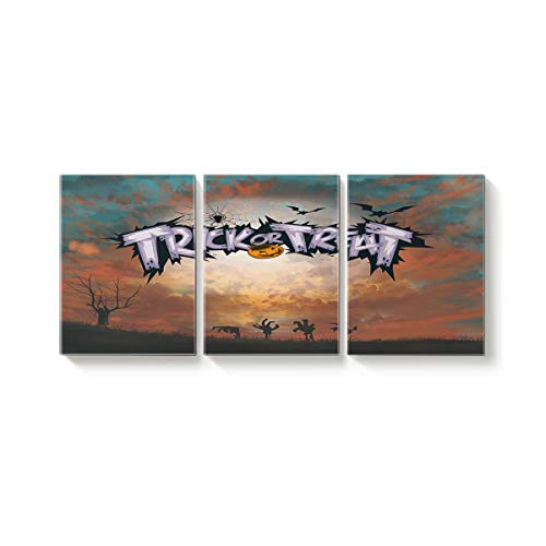 (3 Piece Canvas Wall Art Oil Painting Home Art Decor,Horror Trick or Threat Pumpkins Halloween Design Pictures Artworks for Office,Stretched by Wooden Frame,Ready to Hang,20x24inx3)