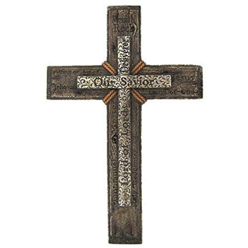 Very Large Elegant Our Savior Lord of Lords Cross on Cross Home Wall Decor 19'' x 12'' ~ Heavy by Mission Gallery