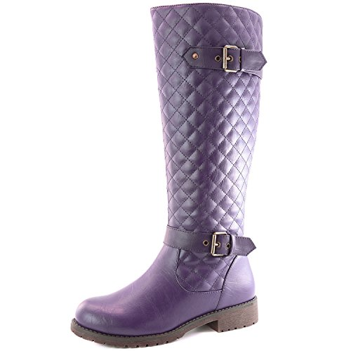 Womens Calf Length Boot - DailyShoes Women's Quilted Round Toe Knee High Combat Rider Boot Mid Calf with Side Pocket, 7.5