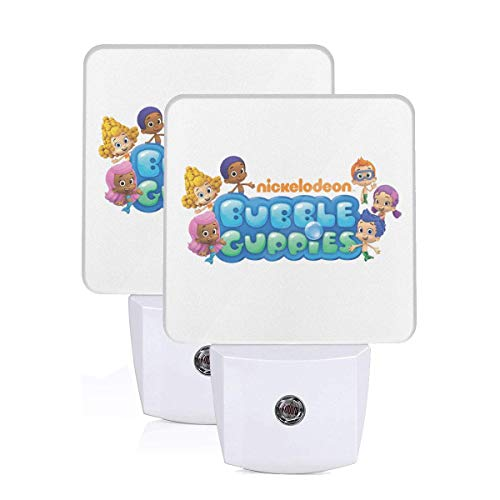 Bubble Guppies Logo LED Night Light Lamp Bed Lamp Set of 2 with Dusk to Dawn Sensor
