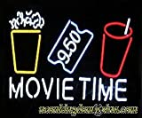 Movie time Metal Frame Neon Sign 24''x20'' Real Glass Neon Sign Light for Beer Bar Pub Garage Room.