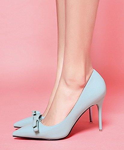 Bleu Noeud Aiguille Couleur Escarpins Avec Talon Aisun Unie Sexy Femme w7zX8qg