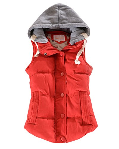 Sleeveless DianShao Coats Warm Womens Vests Thick Winter Red Padded Gilet rrYqw0S